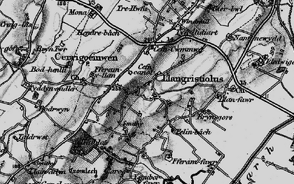 Old map of Afon Cefni in 1899
