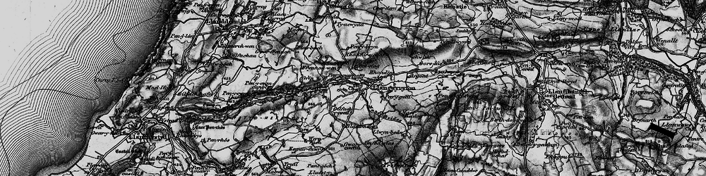 Old map of Afon Wyre in 1898