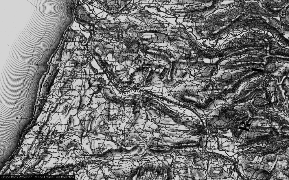 Old Map of Historic Map covering Lanlwyd in 1899