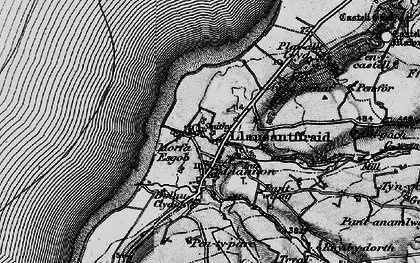 Old map of Llanon in 1898