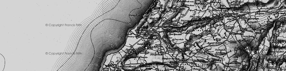 Old map of Llanrhystud in 1898