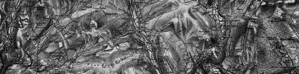 Old map of Afon Taf Fawr in 1898