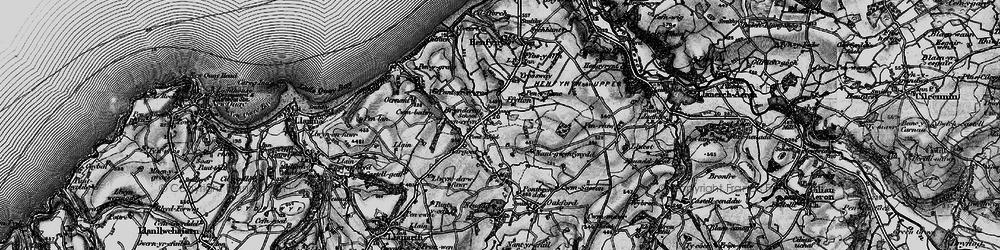 Old map of Afon Drywi in 1898