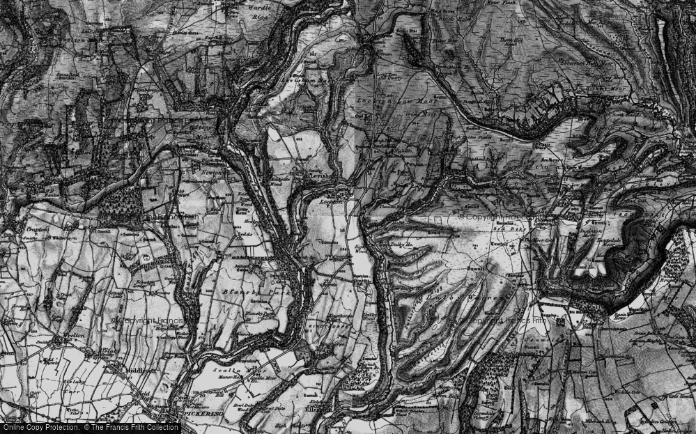 Old Map of Historic Map covering Adderstone Rigg in 1898