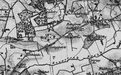 Old map of Wide open Dykes in 1897