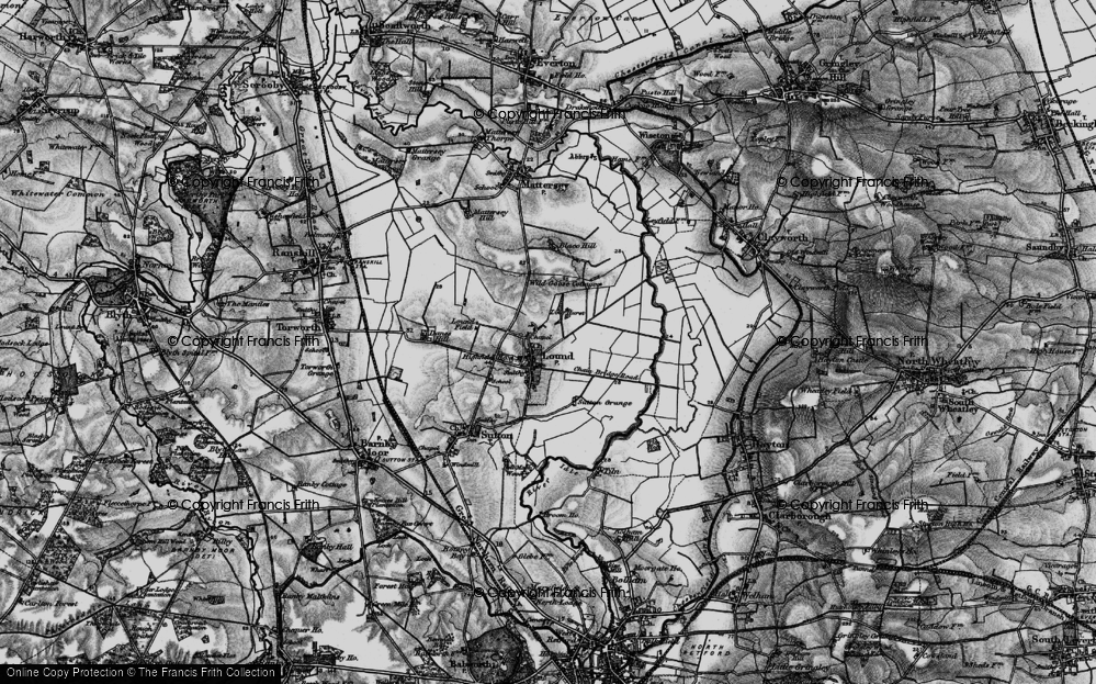 Old Map of Historic Map covering Ling Hurst Lakes in 1895