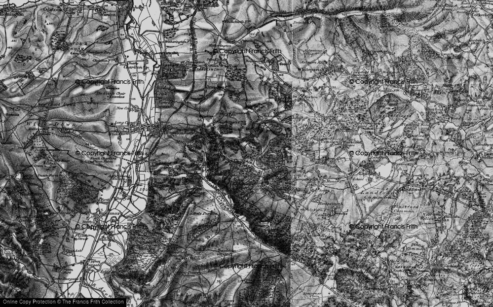 Old Map of Historic Map covering Langley Wood in 1895