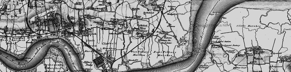 Old map of West Tilbury Marshes in 1896