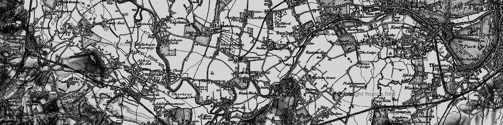 Old map of Lower Halliford in 1896