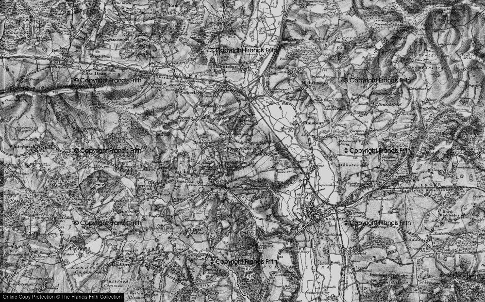 Old Map of Historic Map covering Awbridge Danes in 1895
