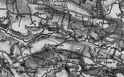Old map of Laneast Downs in 1895
