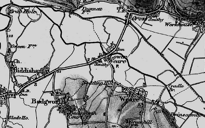 Old map of Badgworth Court in 1898