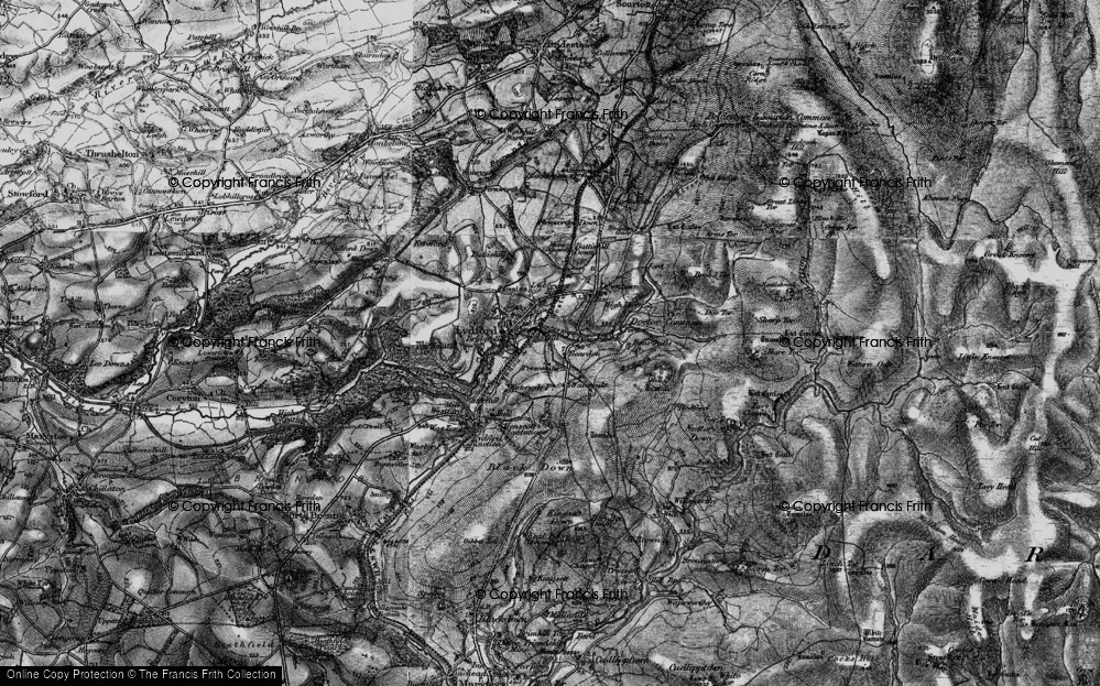 Old Map of Lydford, 1898 in 1898