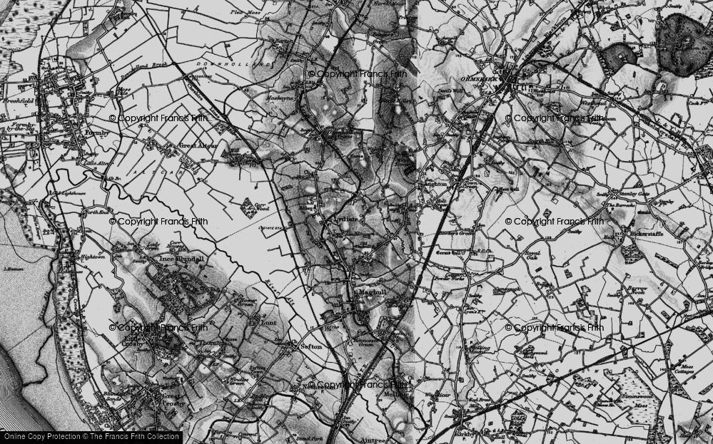 Old Map of Historic Map covering Aughton Chase in 1896