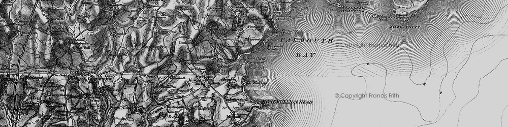 Old map of Maenporth in 1895