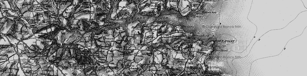 Old map of Manaccan in 1895