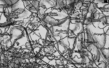 Old map of Bilberry in 1895