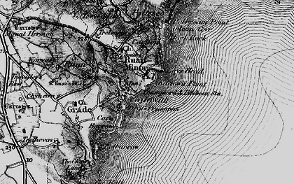 Old map of Cadgwith in 1895