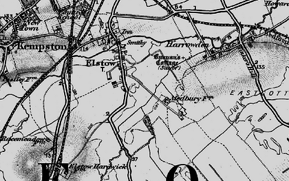 Old map of Elstow in 1896