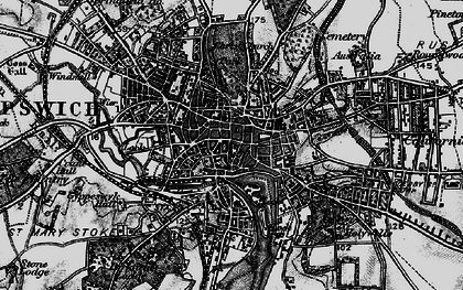 Old map of Ipswich in 1896