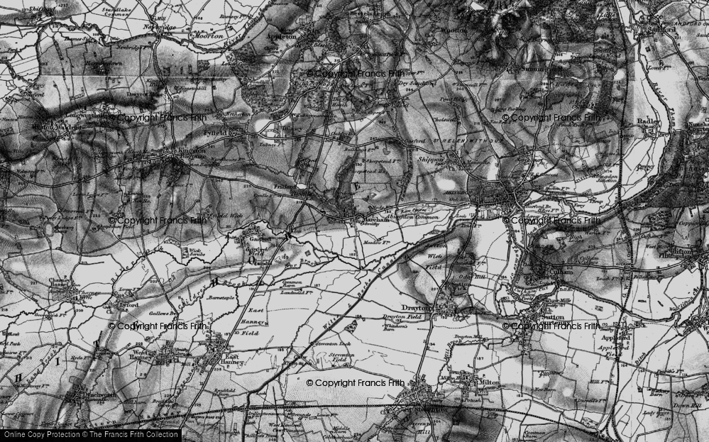 Old Map of Historic Map covering Abingdon Common in 1895