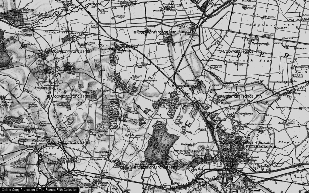 Old Map of Historic Map covering Woodcroft Lodge in 1898