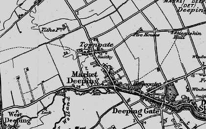 Old map of Market Deeping in 1898