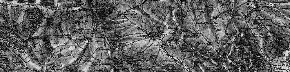 Old map of Tidpit Common Down in 1895