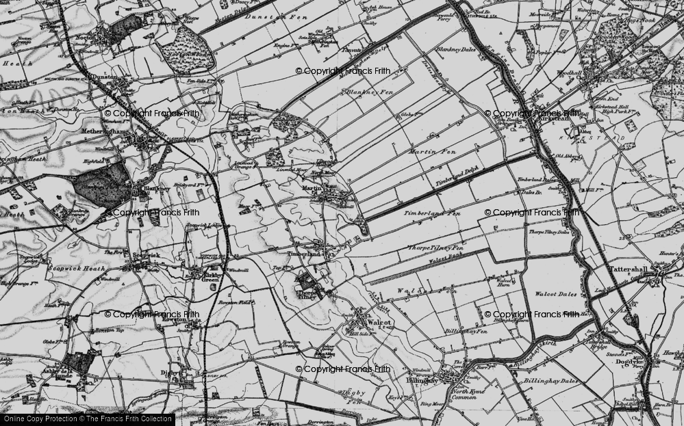 Old Map of Historic Map covering Linwood Moor in 1899