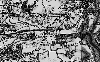 Old map of Martlesham in 1896