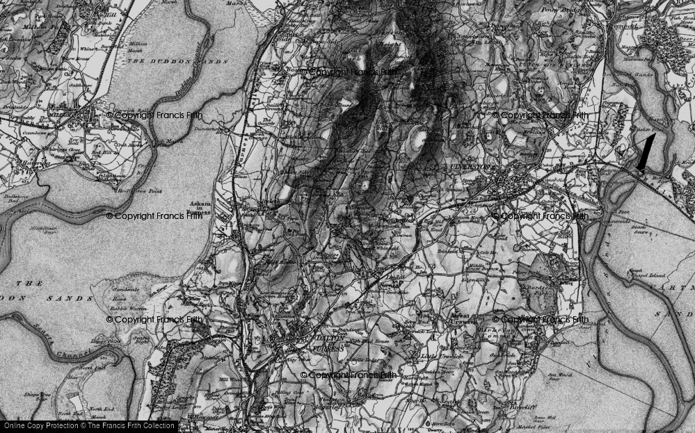 Old Map of Historic Map covering Lindal Moor in 1897