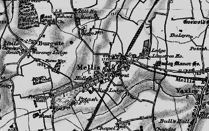 Old map of Yaxley Manor House in 1898