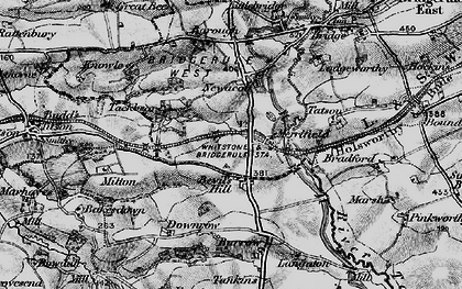 Old map of Langaton in 1896