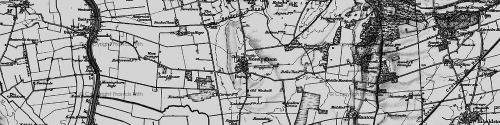 Old map of Messingham in 1895