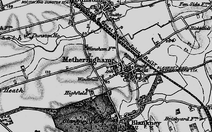 Old map of Metheringham in 1899