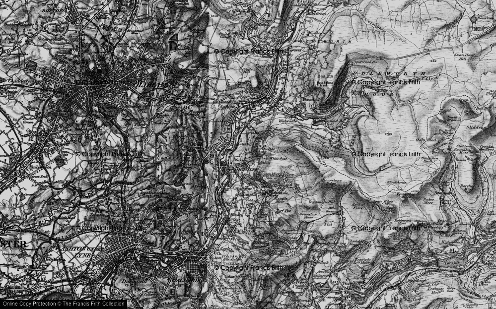 Old Map of Historic Map covering Abraham's Chair in 1896