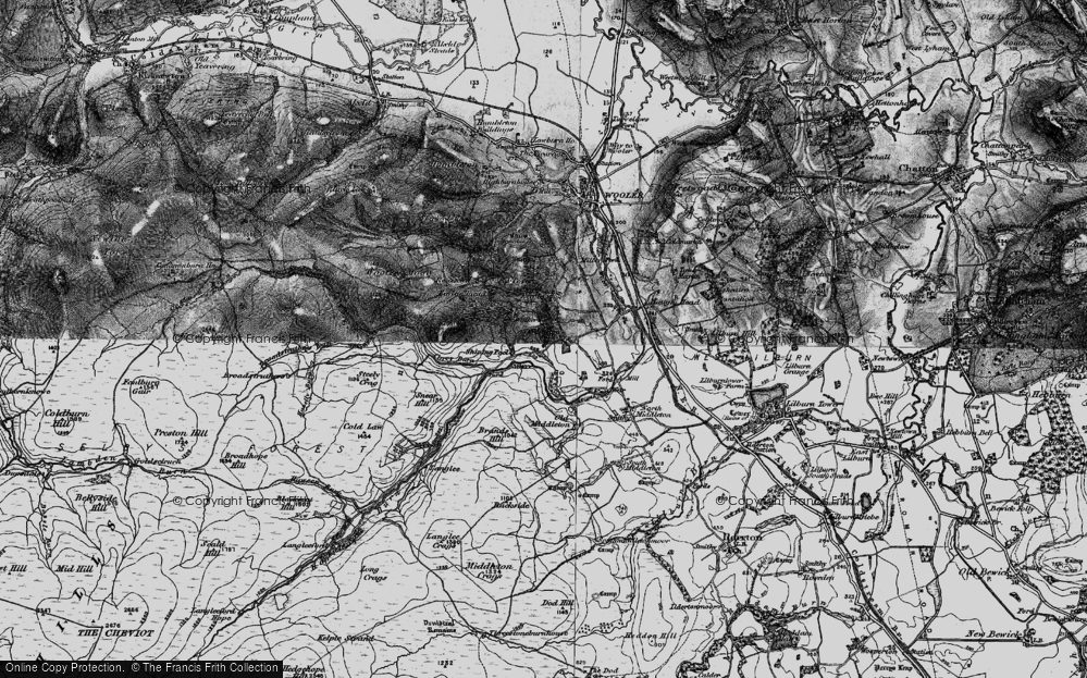 Old Map of Historic Map covering Langlee in 1897