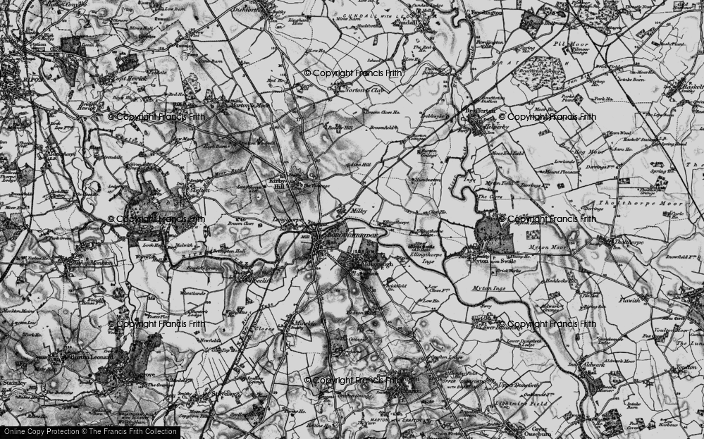 Old Map of Historic Map covering Aldborough Grange in 1898