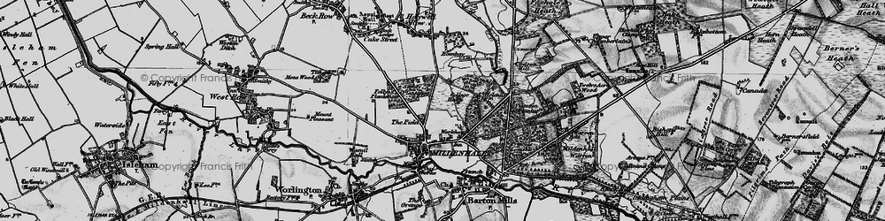 Old map of Mildenhall in 1898