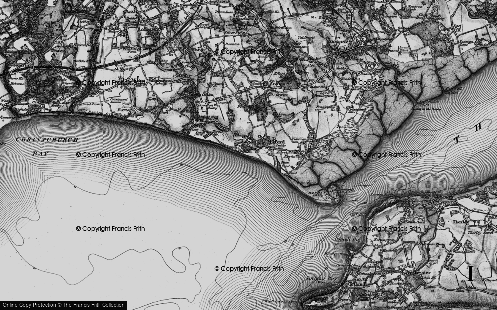 Old Map of Milford on Sea, 1895 in 1895