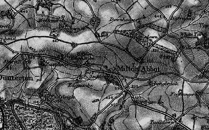 Old map of Milton Abbot in 1896