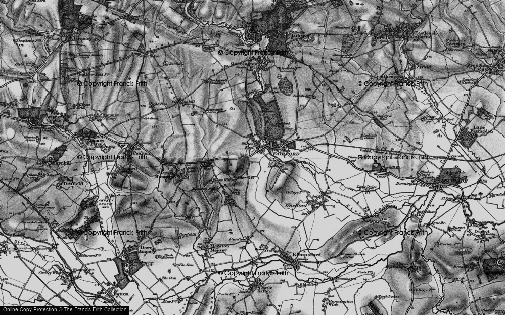Old Map of Historic Map covering Toms Copse in 1896