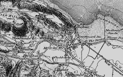 Old map of Minehead in 1898