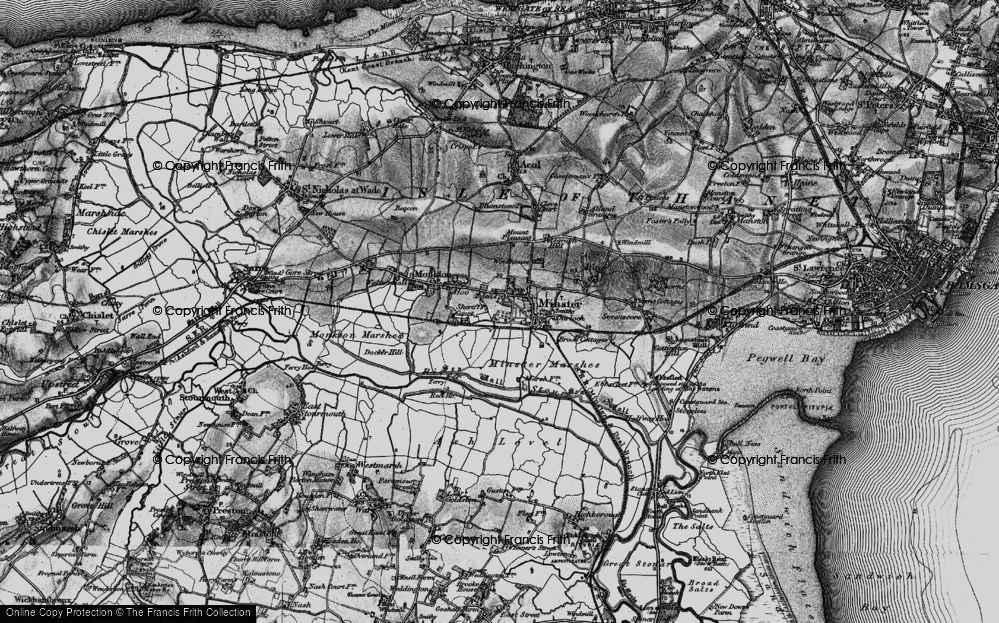 Old Map of Historic Map covering Abbot's Wall in 1895