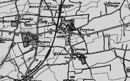 Old map of Monk Fryston in 1895