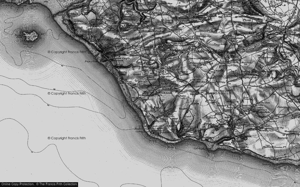 Old Map of Monknash, 1897 in 1897