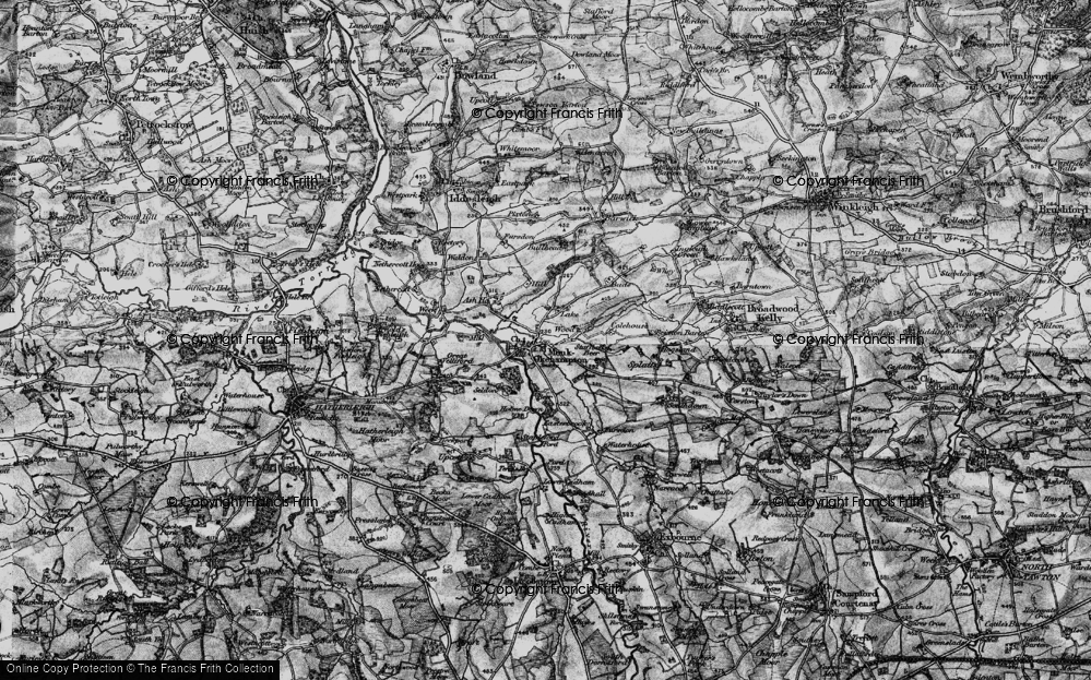 Old Map of Historic Map covering Wood Barton in 1898