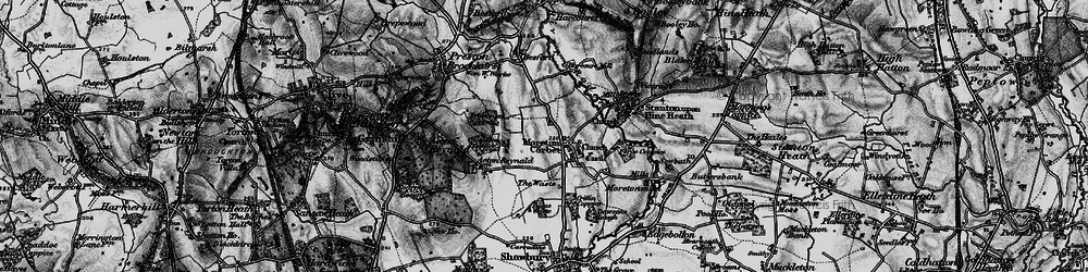 Old map of Moreton Corbet in 1899
