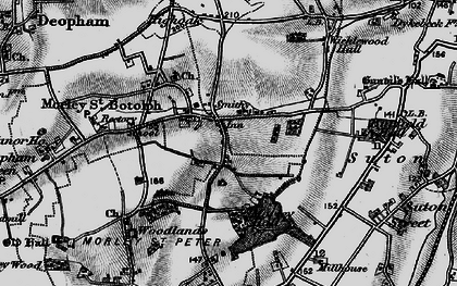 Old map of Wymondham College in 1898