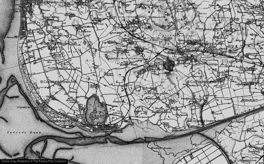 Old Map of Historic Map covering Wrea Brook in 1896